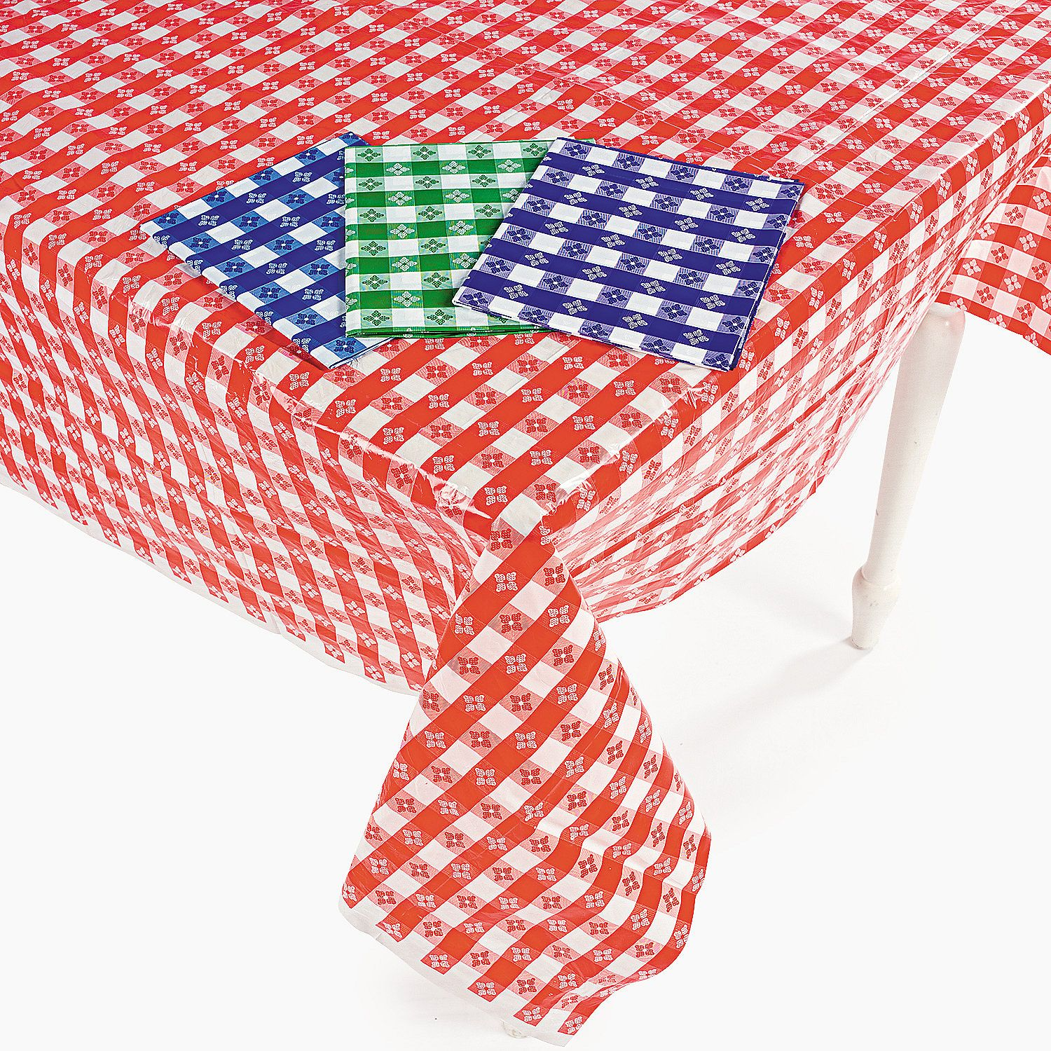 Disposable Checkered Tablecloths Red Blue Green Purple