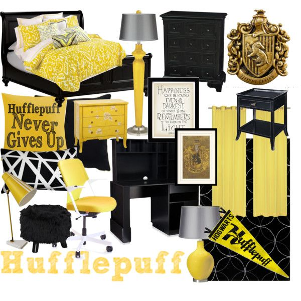 Hufflepuff Bedroom by ashlynknight on Polyvore featuring interior ...