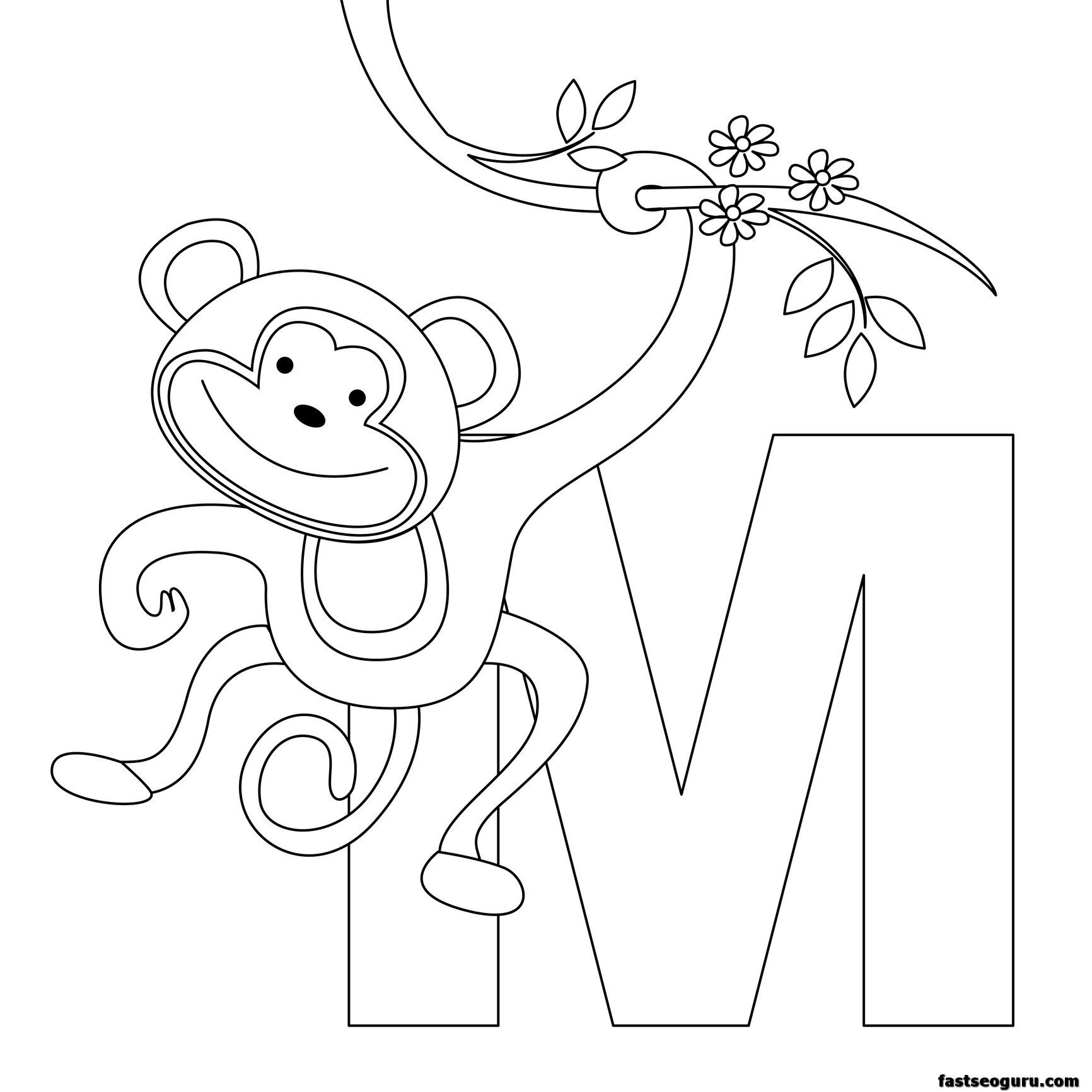 printable animal alphabet worksheets letter m for monkey alphabet coloring pagesprintable - Free Printable Alphabet Letters Coloring Pages