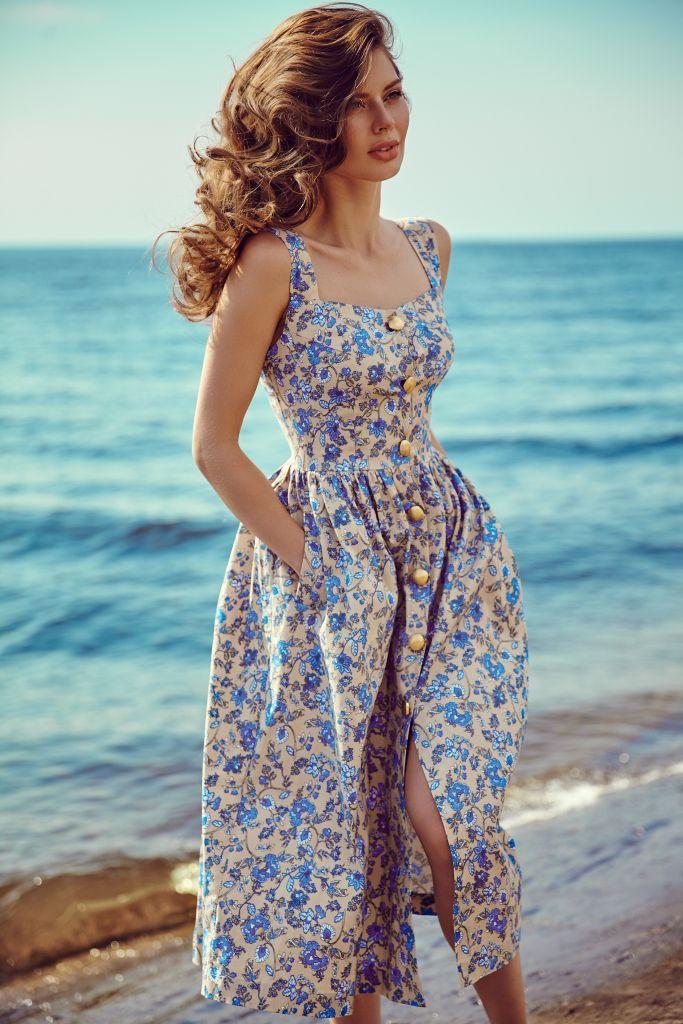 5f3e46dd4639 Сарафан на крупных пуговицах — flowerchic Vintage Floral Dresses, Flowery  Dresses, Robes Vintage,
