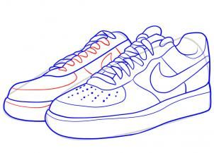 how to draw nike, how to draw air force ones step 7