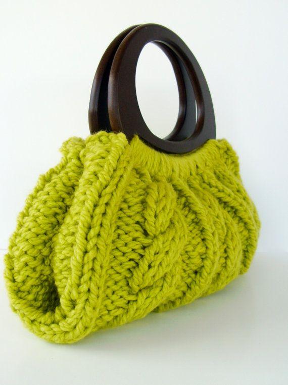 Cable Knit Purse With Wooden Handles Pear Green By Hilaryshats Crochet Handbags Patterns Crochet Handles Crochet Bag