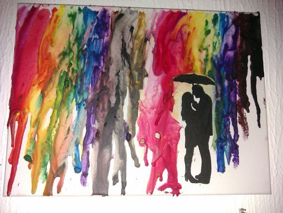 Recycled Crayon Canvas Lovers in the Rain by TidalDreamCreations #teamupcyclers