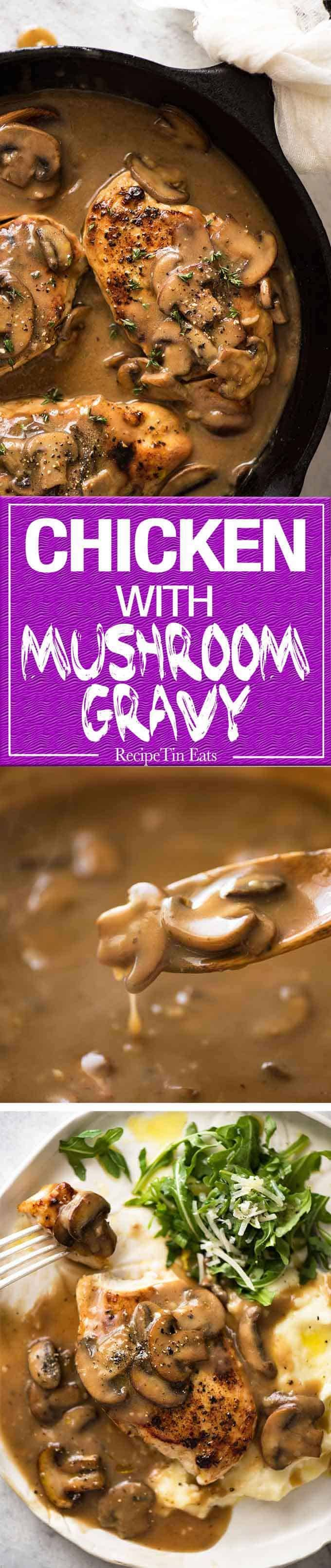 Chicken with Mushroom Gravy A fabulous quick midweek meal - juicy pan seared Chicken with Mushroom Gravy.