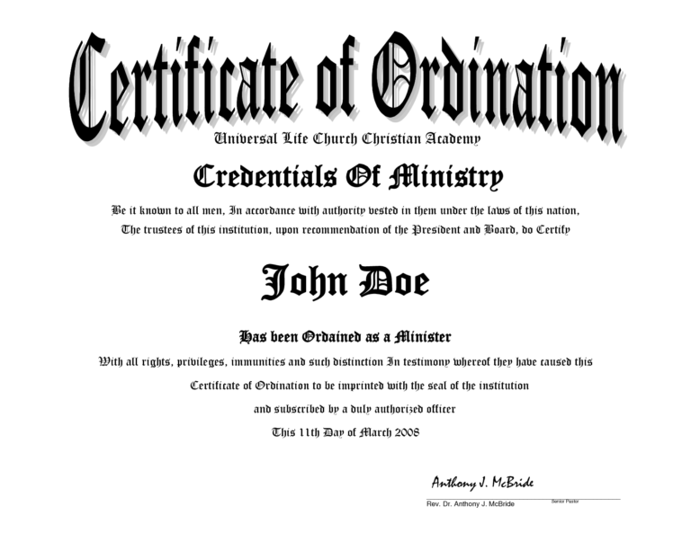 Minister License Certificate Template 10 Best Images Of Regarding Free Ordination Certificate Template Callforpcissues Review