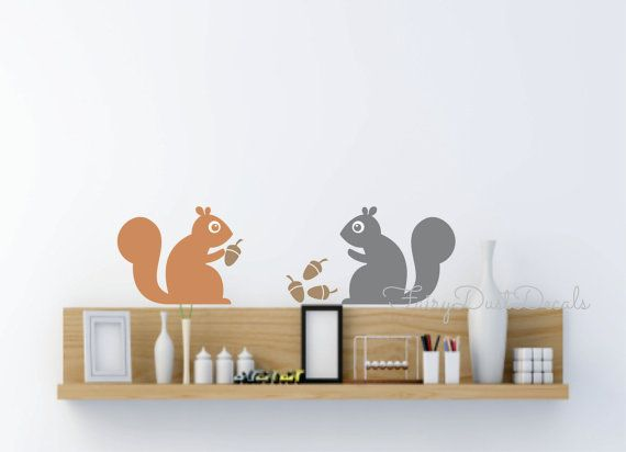 Wall Decal Squirrel Autumn Trees Wall Stickers