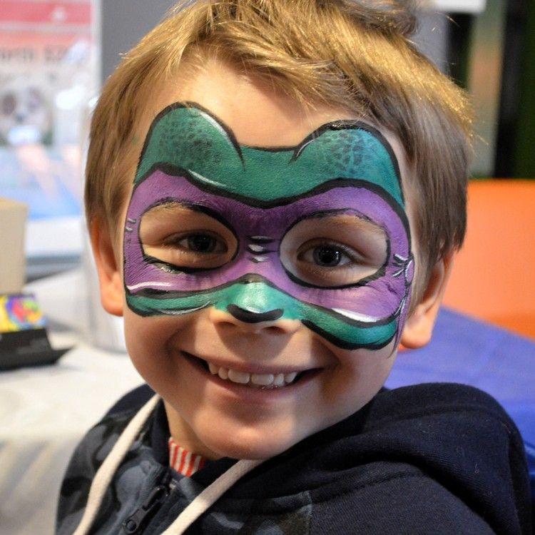 Ninja Turtles Schminken Gesichtsbemalung Donatello Fasching Party