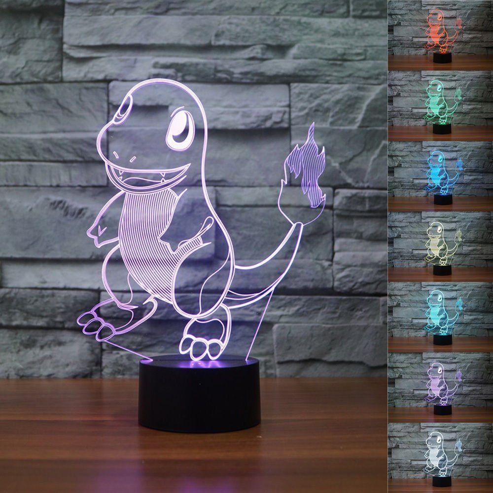 Eine Coole Deko Lampe Fur Das Pokemon Kinderzimmer Tama Caumi Neue 3d Pokemon Go Glumanda 3d Lampe Das Coole Pokemon Nachtlich Nachtlicht Farbwechsel Pokemon