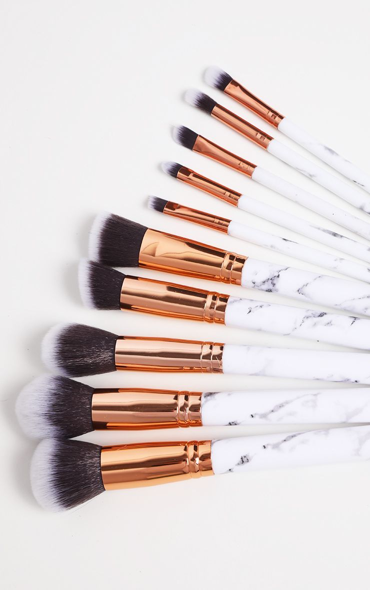 10 Piece White Marble Effect Brush Set In 2020 Makeup Brush Set Brush Set Makeup Brushes Guide