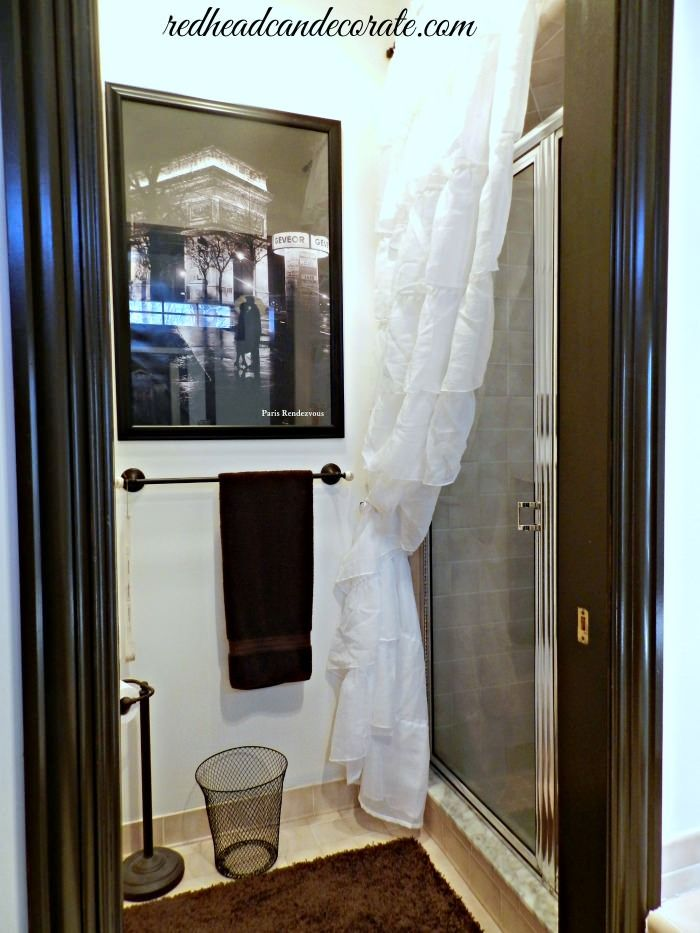 Ruffled Curtain Over Glass Shower Door Redhead Can Decorate