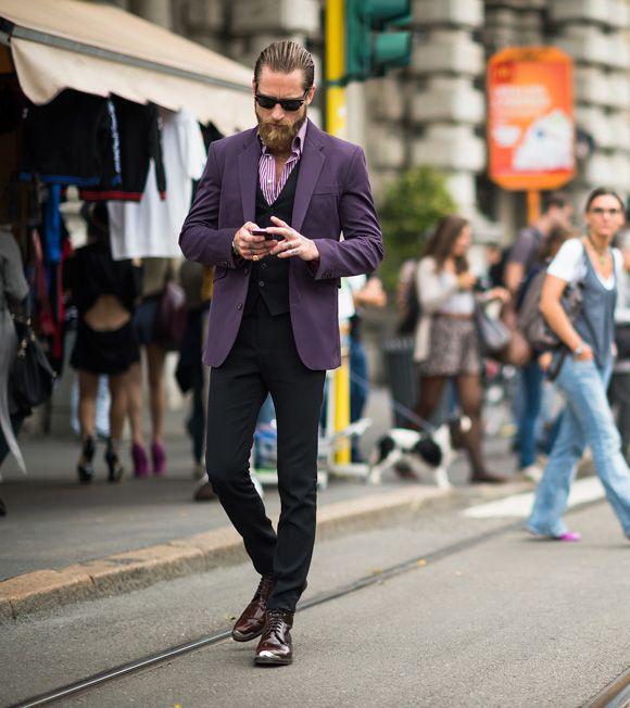 Justin O'Shea purple suit jacket