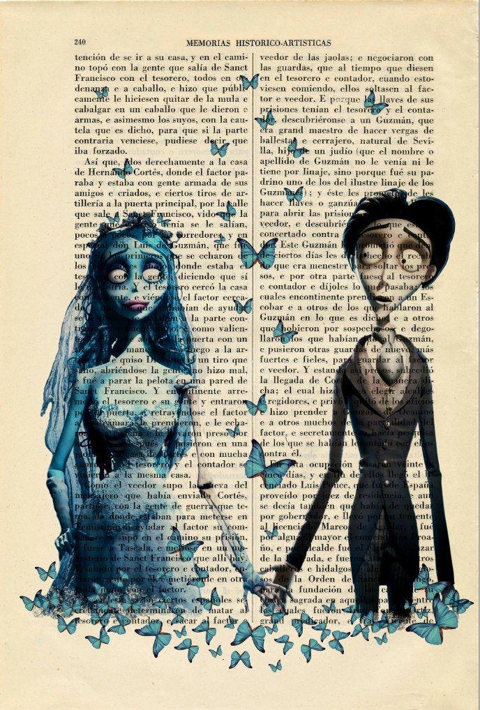 Corpse Bride and Victor Print Tim Burton Movie Art Poster Butterflies Book Art Dorm Room  Wall Decor Poster Art (24-Nº11)