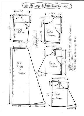 Esquema de modelagem de Vestido Longo com alça e babado tamanho 46.