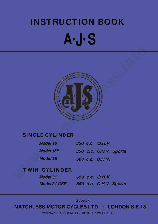 Ajs 1963 16 16s 18 31 31csr Maintenance Manual Pdf