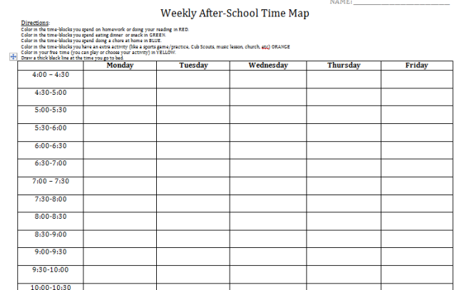 Student log to get baseline of time management needs after school after school time log time management worksheet time management for students time management activities ibookread PDF
