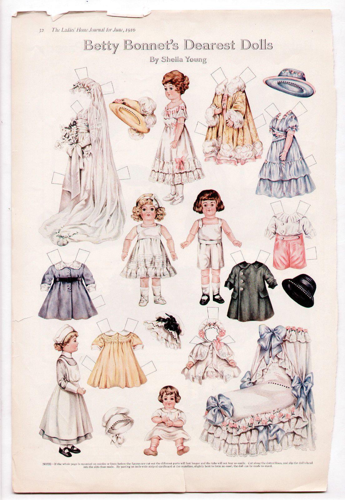 Vintage Betty Bonnet S Dearest Dolls Paper Dolls