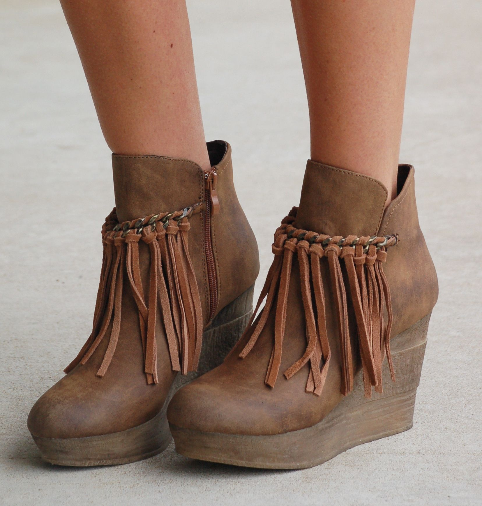 Fringe Zepp Wedge Bootie - Taupe | Clothes | Pinterest | Grigio ...