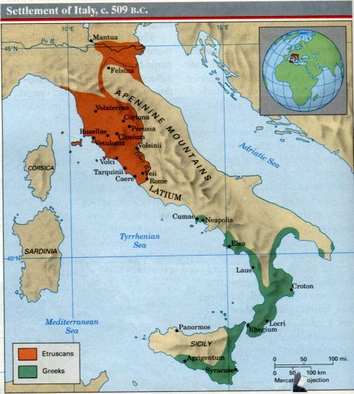 MAP of the Etruscans c. 500 BCE.   Civilization history ...