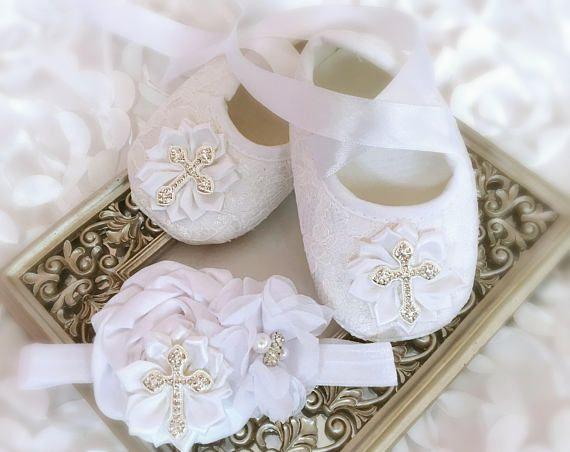 Baby Girl White Christening Shoes Satin Flowers Headband Rhinestone ...