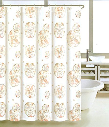 Coastal Collection Shower Curtain Fabric Sea Life Design Sand Dollar In  Coral Beige Grey Colors 72