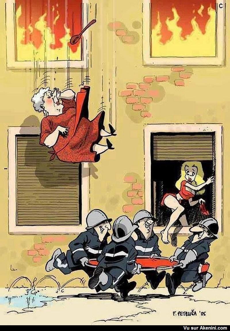 Sauver la plus jolie ! - funny firefighter cartoon | Images drôles, Illustrations satiriques ...