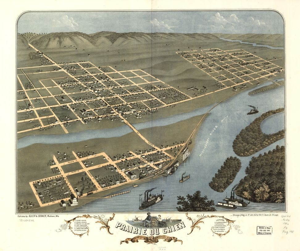 Prairie du chien crawford county wisconsin perspective map