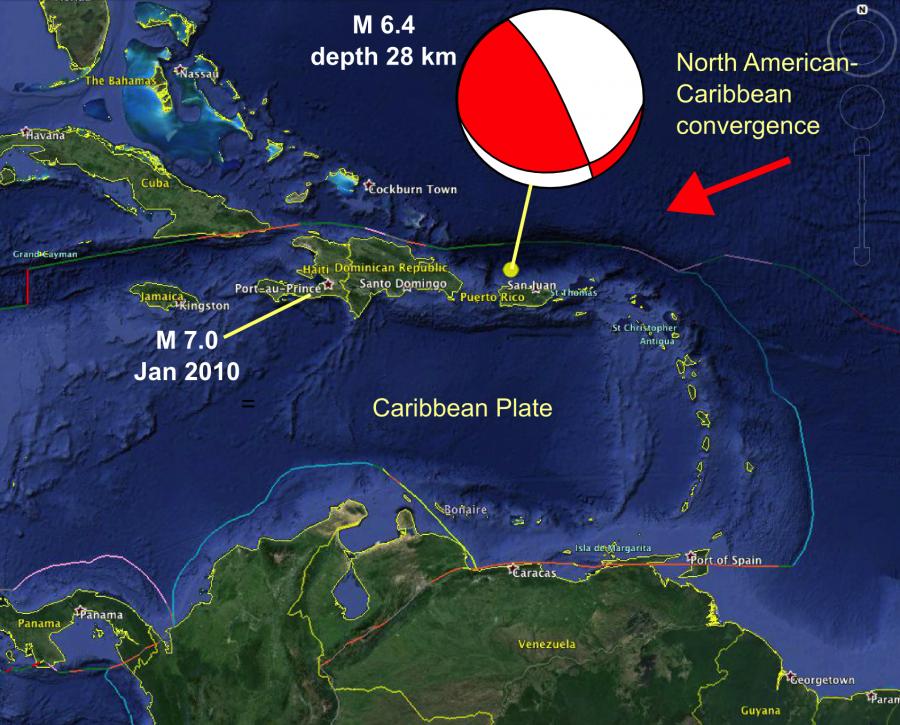 Location Of The Puerto Rico And Haiti Earthquakes Puerto Rico