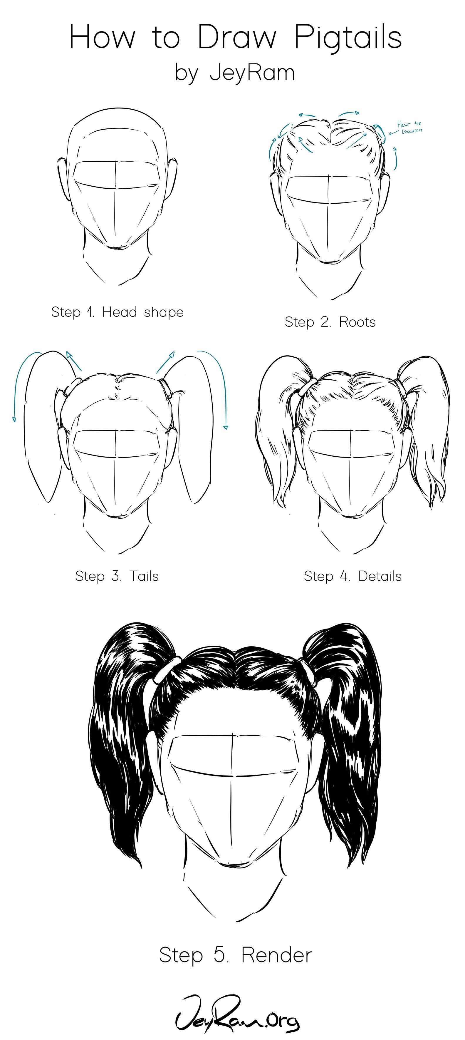 How To Draw Hair In Pigtails Step By Step Tutorial For Beginners How To Draw Hair Drawing Tutorial Face Pigtails