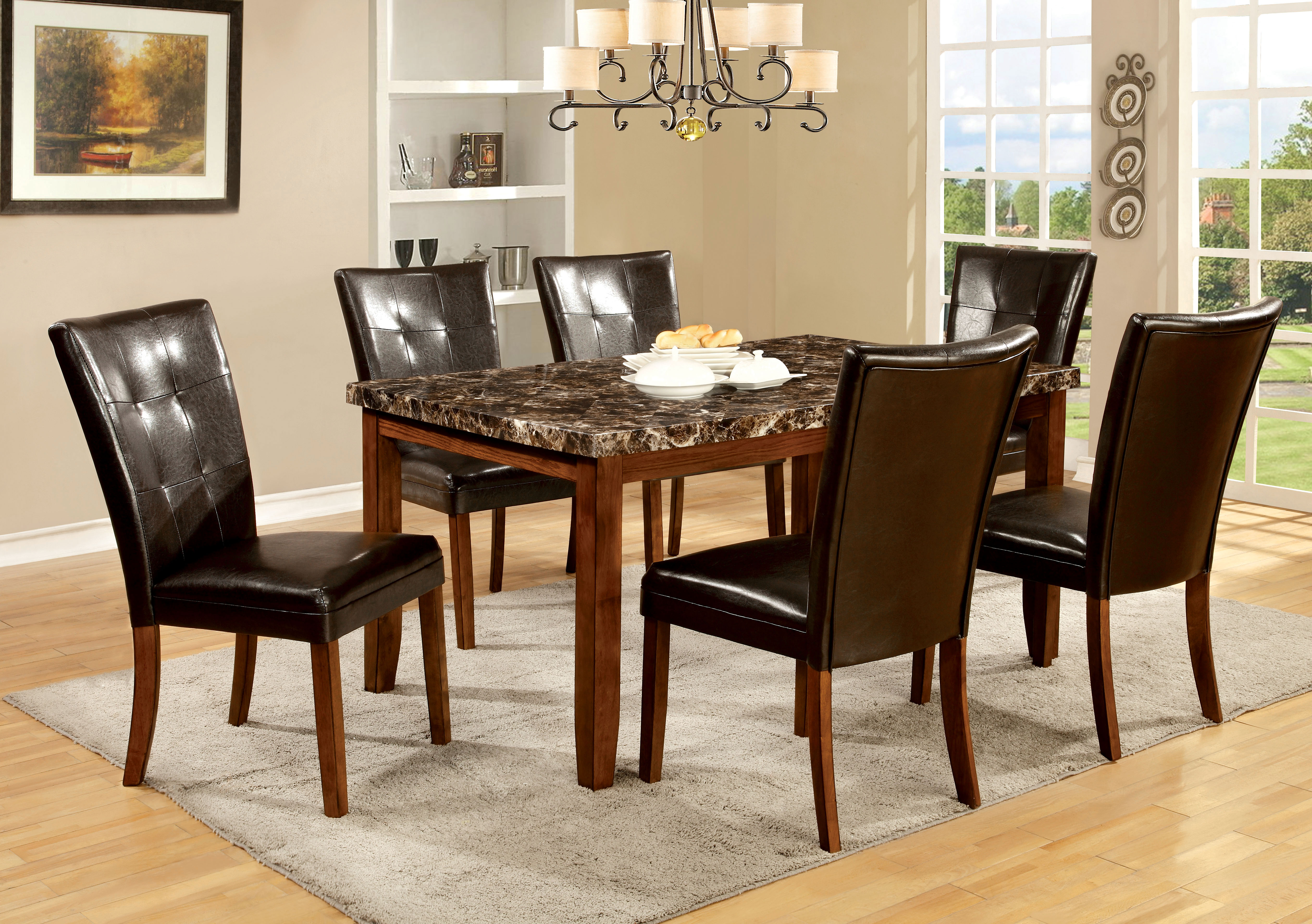 Antique wood dining tables furniture of america antique oak moralli faux marble top dining