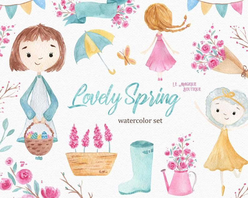 Lovely Spring Watercolor Clipart Etsy Clip Art Flower