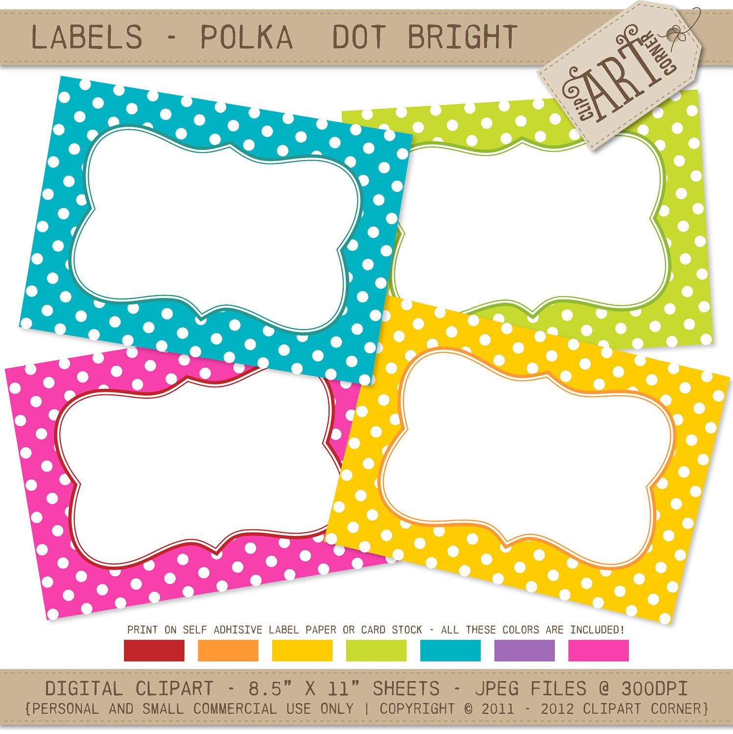 Polka Dot Labels Free Printable Name Tags DIY And Crafts - Small name tag template