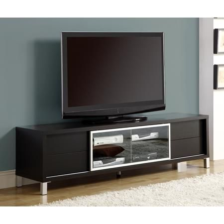 Germane Euro 70 Tv Console Cappuccino Glass Door Dcg Stores Cool Tv Stands Tv Stand Designs Tv Stand