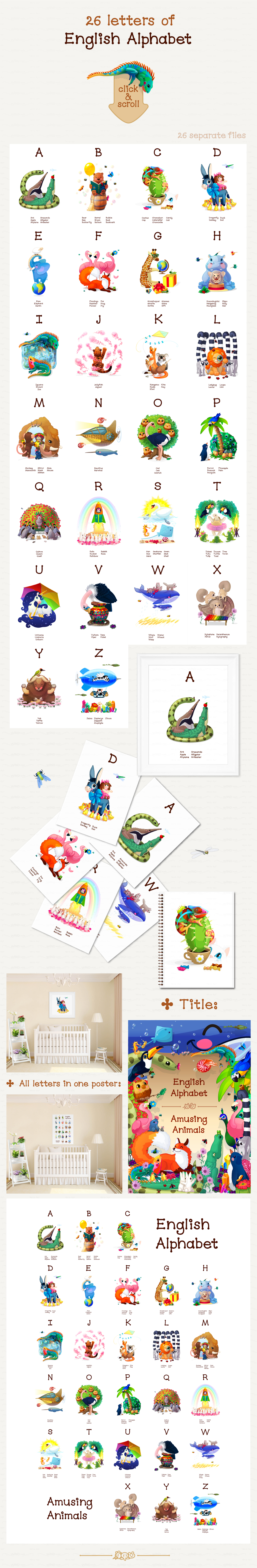 vector English Animals Alphabet  - Illustrations - 2