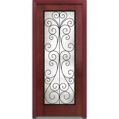 [Front Or Back Door]   Milliken Camelia Decorative Glass Full Lite Finished  Mahogany Fiberglass