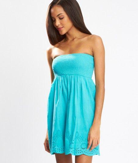 robe de plage bustier bas brod lea turquoise etam. Black Bedroom Furniture Sets. Home Design Ideas