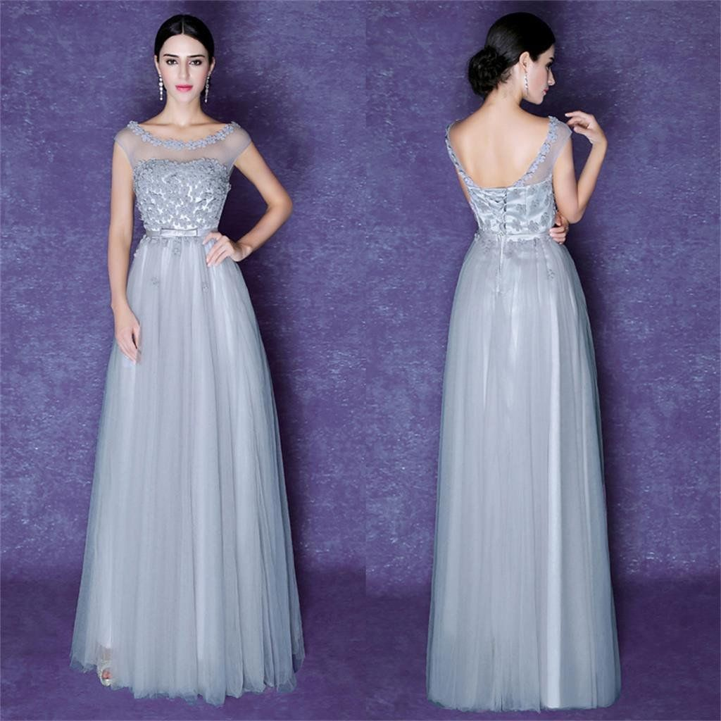 Tulle Prom Dresses,Scoop Prom Dresses,Gray Prom Dresses, Beautiful ...