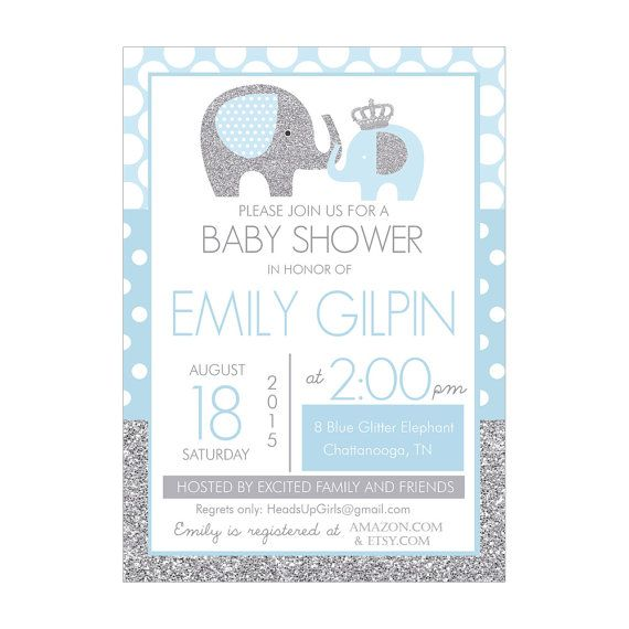 Personalized Blue And Silver Glitter Elephants Prince Baby Shower  Invitations For Baby Boys By HeadsUpGirls