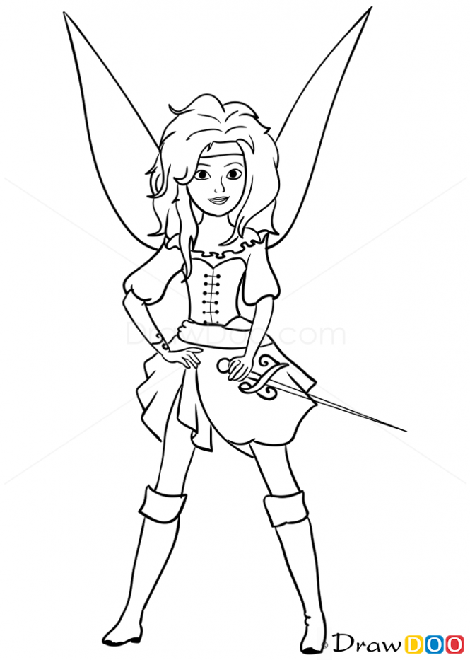 hadas y piratas silver mist coloring pages | Pirate Fairy Drawing | How to Draw Fairy Pirate, Pirates ...