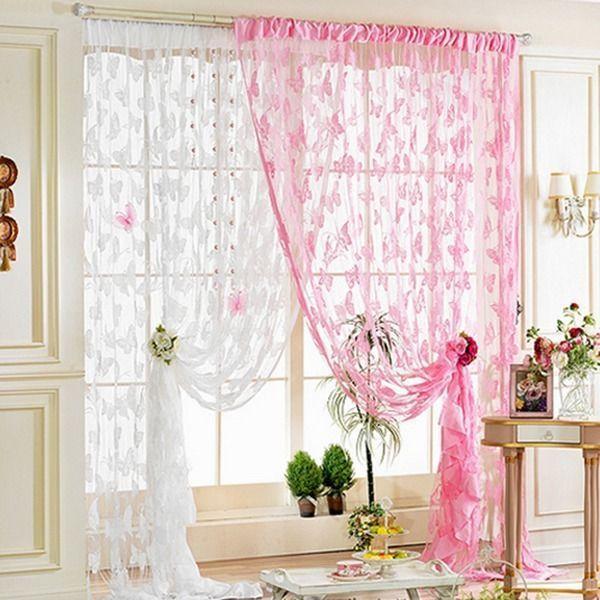 Cortinas romântico pendão corda porta borboleta moda cortina ...
