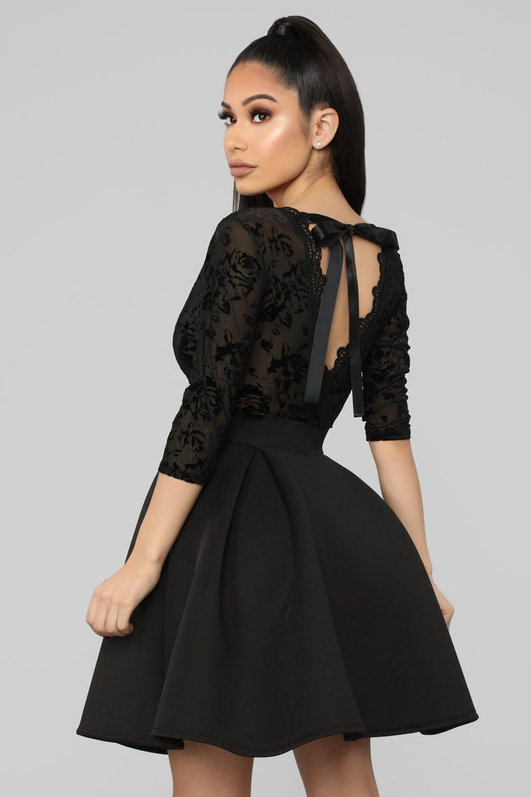 Expecting An Invitation Fit And Flare Dress Black