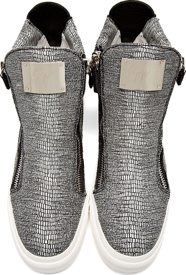 Giuseppe Zanotti: Grey Sparkle Stingray Print High Top Sneakers