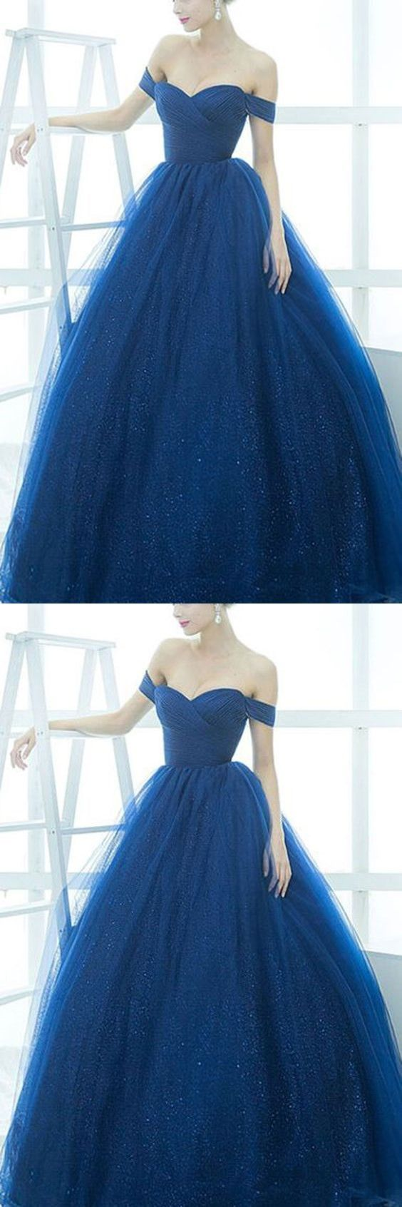 Royal blue organza offshoulder simple ball gown dresseslong dress