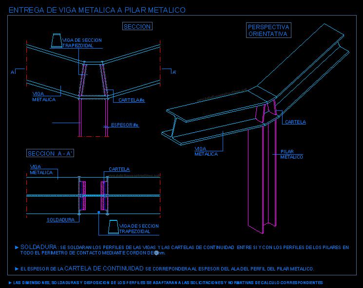 Uni n de vigas met licas inclinadas con pilar met lico 2 for Formula escalera