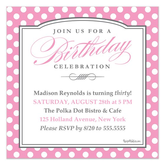 pink polka dots birthday party invite and card design by the spotted