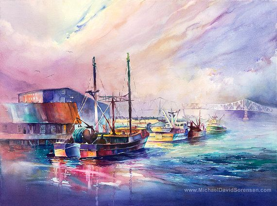 Fisher S Landing Watercolor Print Fishing Boats In Astoria