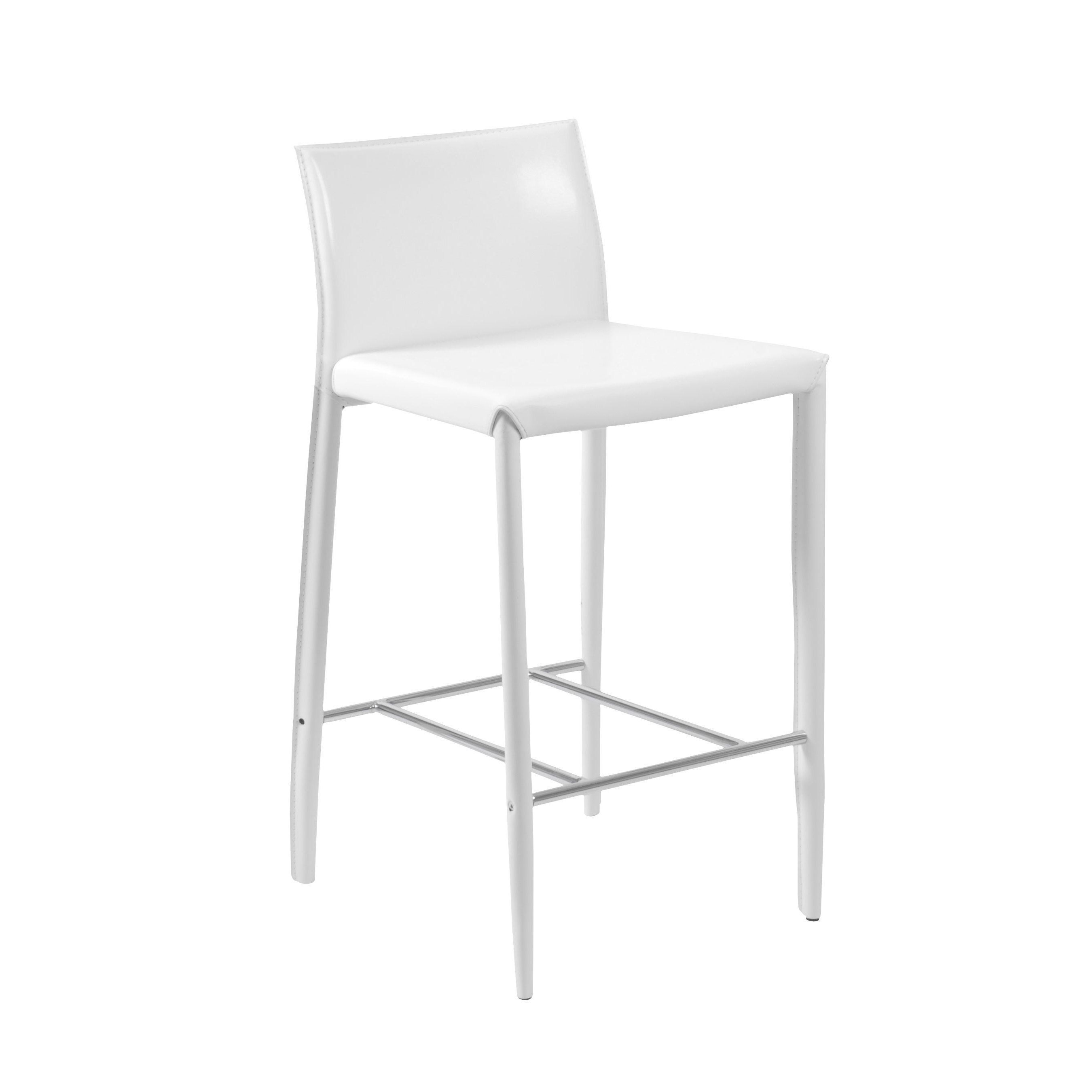 Euro Style Shen 26 Inch White Chrome Grey Counter Stool Set Of