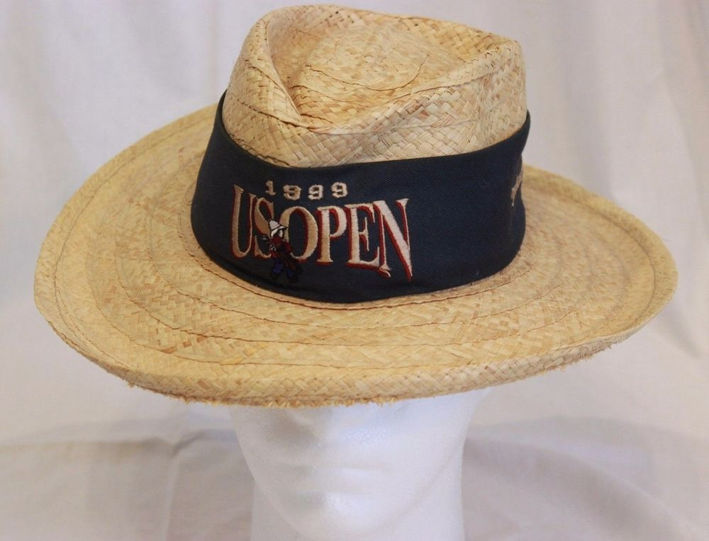 US Open Pinehurst 2 Straw Golf Hat Blue Band Bow Sz S M Imperial Made USA 1999 #Imperial #Panama