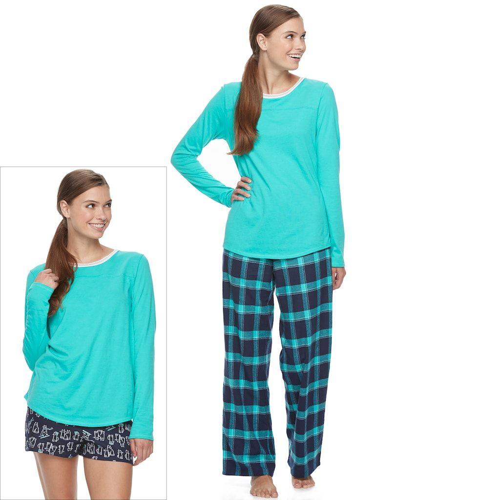 Red flannel pajamas  Juniorsu SOÂ Pajamas Flannel Pants Shorts u Top Piece PJ Set