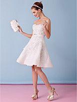 Lanting uma linha de vestido de noiva - marfim na altura do joelho strapless tule