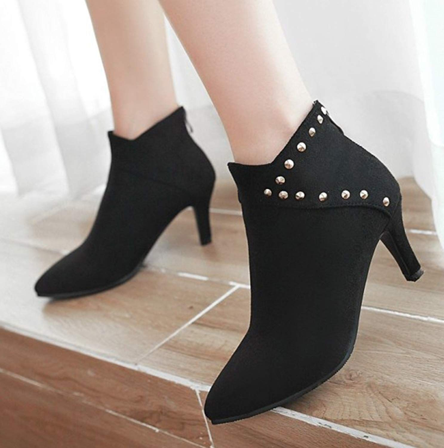 a53112281e Aisun Women's Studded Faux Suede Dressy Zip Up Pointed Toe Ankle ...